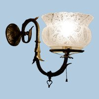 Brass Gas Sconce with Period Crown Top Shade