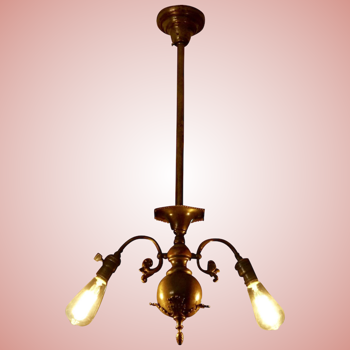 Two Arm Colonial Revival Chandelier With Edison Style Bulbs