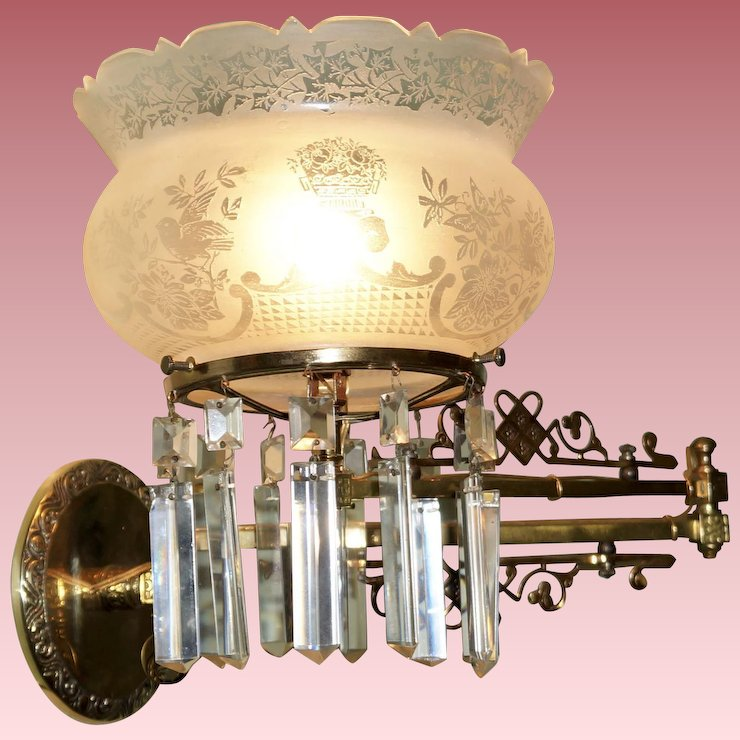 Aesthetic Swing Arm Gas Sconce with Crown Top Shade & Aesthetic Swing Arm Gas Sconce with Crown Top Shade : Circa 1850 ...
