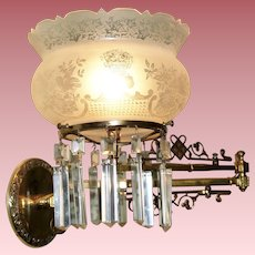 Aesthetic Swing Arm Gas Sconce with Crown Top Shade