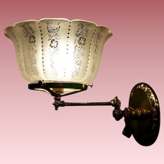 Pair of Swing Arm Gas Sconces with Period Shades