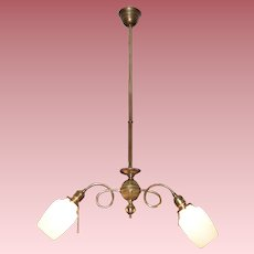 Two Arm Colonial Revival Electric Chandelier with Opal Shades