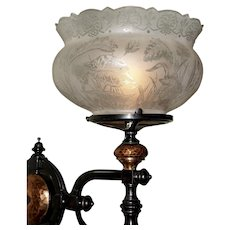 Unique Eastlake Gas Wall Sconce with Period Shade