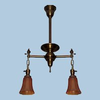 Gas and Electric Transitional Chandelier with Art Glass Shades