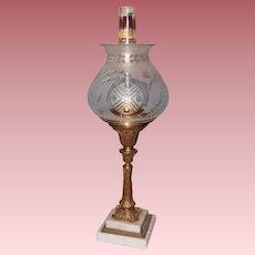 Henry Hooper Solar Lamp, In Original Oil Burning Condition