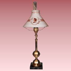 Gas Portable or Table Lamp with Boston & Sandwich Shade