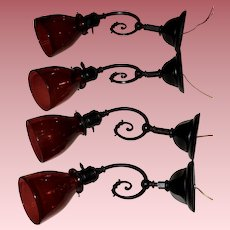 Rare Set of Four Early Electric Wall Sconces with Blown Cranberry Shades