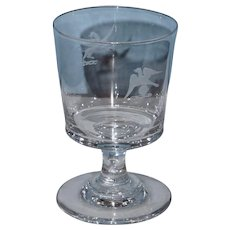 19th Century Colorless Goblet with Cut and Etched Griffins