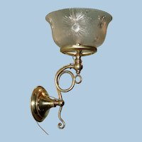 Gas Sconce with a Period Pressed Glass Shade