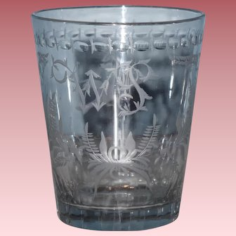 Beautifully Engraved & Cut 19th Century Glass or Tumbler