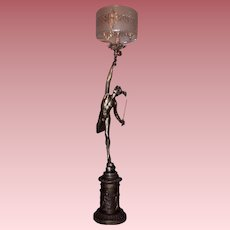 19th Century Gas Newel Post Light of Mercury with Period Shade