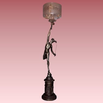 19th Century Gas Newel Post Light of Mercury with Period Shade