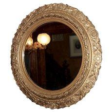 Victorian Gilt Gesso Round Mirror