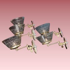 Set of Five Swing Arm Gas Sconces with Matching Shades