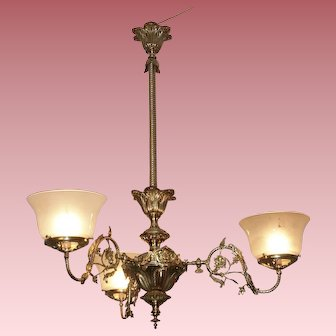 Three Arm Gas Chandelier with Period Shades