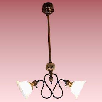 Two Arm Electric Chandelier with Period Etched Shades