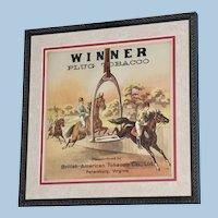 "19th Century Tobacco Crate Lithograph- Caddy Label- ""Winner Plug Tobacco"", Lot #5"