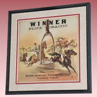 "19th Century Tobacco Crate Lithograph- Caddy Label- ""Winner Plug Tobacco"", Lot #5"