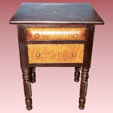 Empire Mahogany and Tiger Maple Sewing Work Table