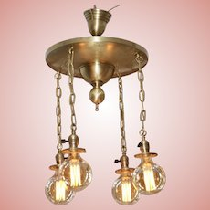 Four Light Brass Chandelier with Large Edison Bulbs