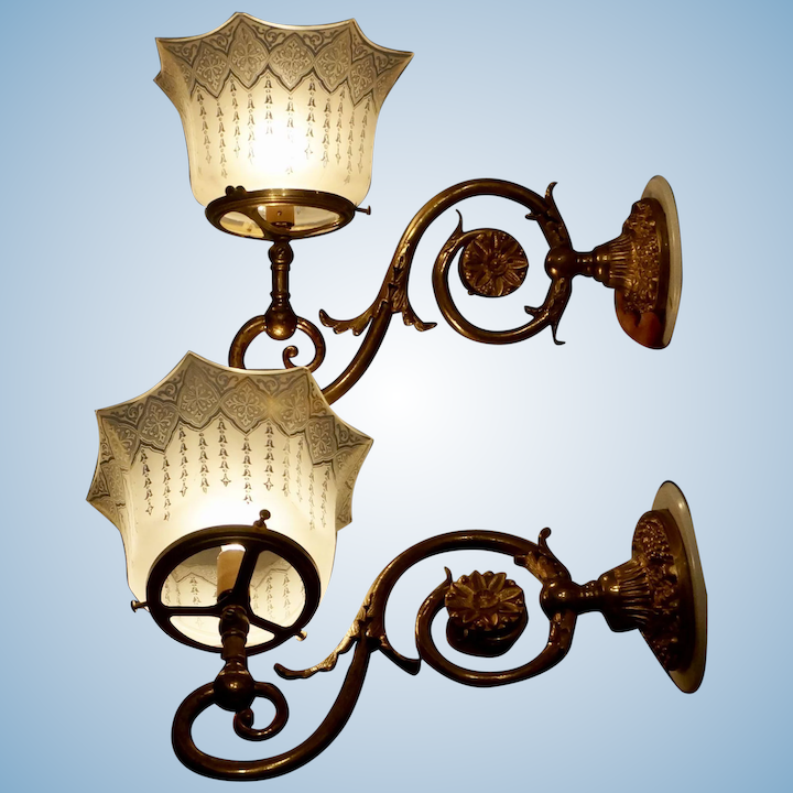 the latest e550b d3f33 Pair of English Gas Wall Sconces with Period Shades