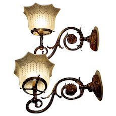 Pair of English Gas Wall Sconces with Period Shades