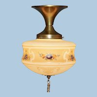 Circa 1915 Brass Ceiling Fixture with Hand Painted and Stencil Decorations