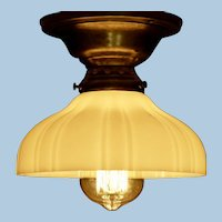 Industrial Ceiling Light with Opal Sheffield Shade and Edison Style Bulb