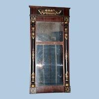 American Classical Stenciled Wall Mirror, Circa 1830