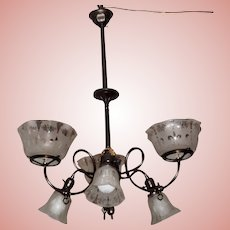 Six Arm Gas & Electric Chandelier with Matching Antique Shades