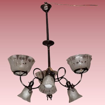 Six Arm Gas & Electric Chandelier with Matching Shades