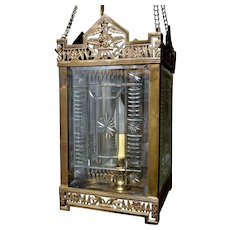 Eastlake Hall Gas Lantern with Cut and Beveled Glass Panels