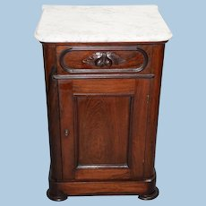 Victorian Marble Top Half Commode in Black Walnut