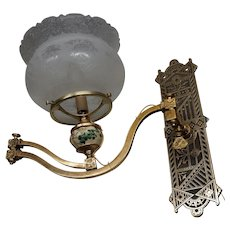 Eastlake Wall Sconce with Satsuma Porcelain Insert and Crown Shade