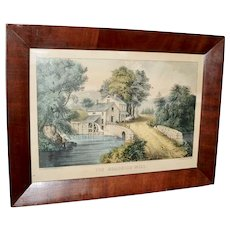Currier & Ives Hand Colored Lithograph in a Period Frame
