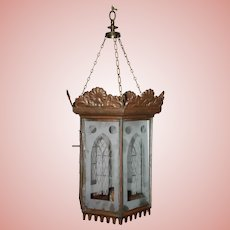 Tin Hall Candle Lantern with Etched Gothic Windows
