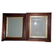 Near Pair of Victorian Walnut Frames with Old Photograph & Bucks County Pa. Provenance
