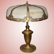 Large Slag Glass Electric Table Lamp, Circa 1915