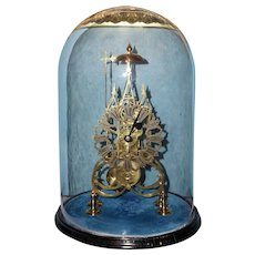 English Gothic Skeleton Clock with Original Glass Dome