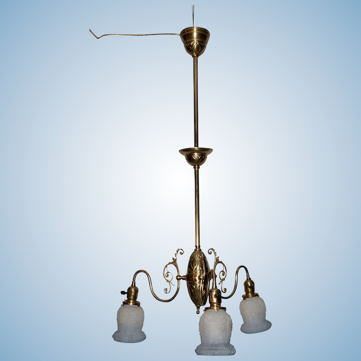 Three Arm Early Electric Chandelier With Period Shades