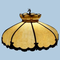 Large Eight Panel Hanging Slag Glass Chandelier, Circa 1900