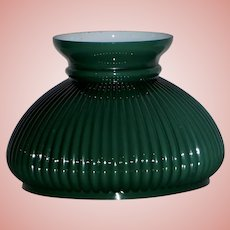 Green Cased & Ribbed Student Lamp Shade