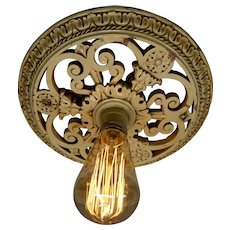 Flush Mount Plaster Ceiling  Fixture with Edison Style Filament Light Bulb