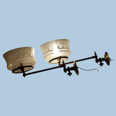 Pair of Gas Sconces with Period Etched Shades