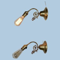 Pair of Early Electric Single Socket Industrial Sconce with Edison Bulb