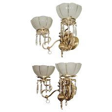 Pair of  Double Arm Gas Sconces with Period Shades and Prisms, Circa 1890
