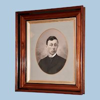 Large Victorian Charcoal Drawing of a Young Gentleman in a Period Walnut Frame