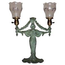 Rare Art Nouveau Gas Portable or Table Lamp