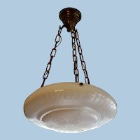 Rare Steuben Carder Calcite Dome Light Pendant, All Original, Circa 1910