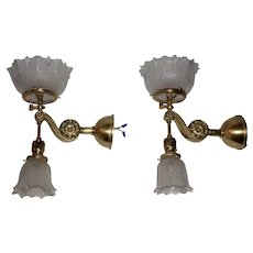 Pair of Gas & Electric Wall Sconces with Gillinder Shades